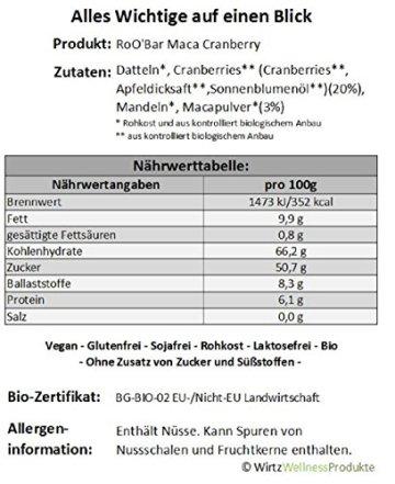 ROO'BAR Maca & Cranberries 20 Stück (20x 30g) - Rohkost-Riegel mit Superfoods (bio, vegan, glutenfrei, roh) - 3