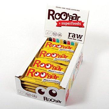ROO'BAR Maca & Cranberries 20 Stück (20x 30g) - Rohkost-Riegel mit Superfoods (bio, vegan, glutenfrei, roh) - 1