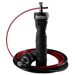 Springseil Speed Rope von BeMaxx Fitness + Trainingsguide & Ersatzkabel | 2 verstellbare Stahlseile, Profi Kugellager & Anti-Rutsch Griffe | Crossfit, Profi Sport, Boxen, Training | Erwachsene, Kinder - 1