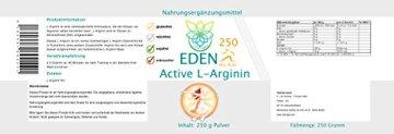 VITARAGNA Eden Active L-Arginin HCL Plus 250 Pulver Pur, vegan, Aminosäure mit optimaler Löslichkeit für pure Kraft, Ausdauer, Muskel & Pump, hochdosiert - 2