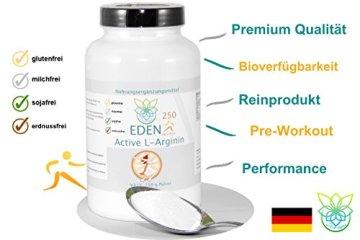 VITARAGNA Eden Active L-Arginin HCL Plus 250 Pulver Pur, vegan, Aminosäure mit optimaler Löslichkeit für pure Kraft, Ausdauer, Muskel & Pump, hochdosiert - 3