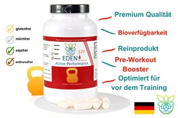 VITARAGNA Eden Active Performance Pre-Workout-Booster 120 Kapseln, Trainingsbooster, Fitness, Muskelaufbau, Pump, Kraftsteigerung, ohne Koffein, clean, geschmacklos, hochdosiert - 3