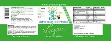 VITARAGNA Eden Active Vegan Protein Power Shake Schoko 300 Pulver, mit Vitamin-B12, Vitamin-D3, Hanfprotein und OPC Fruchtpulver und Kakao ohne Koffein - 2