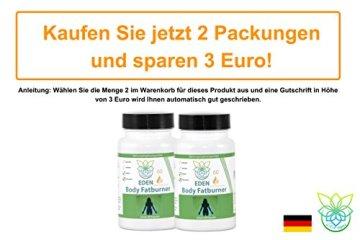 VITARAGNA Eden Body Fatburner Grüner Kaffee Extrakt 60 Kapseln, 500 mg, 50% Chlorogensäure, Green-Coffee Fettverbrenner Diät-Pillen, Abnehm-Pillen zum natürlich abnehmen auch bei Bauchfett - 5