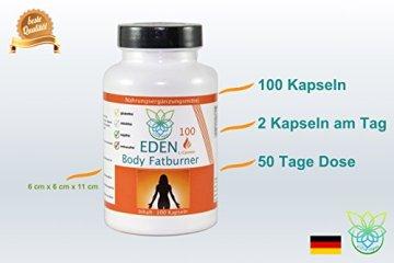 VITARAGNA Eden Body Fatburner L-Carnitin 100 Kapseln, Fettverbrenner, Diät-Pillen bzw Abnehm-Pillen zum Sport ohne Koffein, mehr Kraft und Ausdauer, hochdosiert - 4