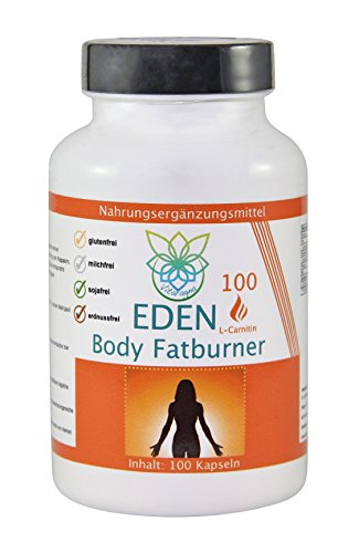 VITARAGNA Eden Body Fatburner L-Carnitin 100 Kapseln, Fettverbrenner, Diät-Pillen bzw Abnehm-Pillen zum Sport ohne Koffein, mehr Kraft und Ausdauer, hochdosiert - 1