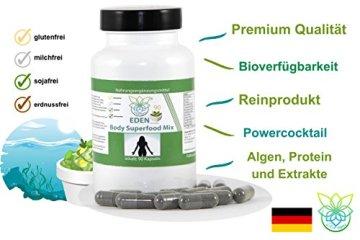 VITARAGNA Eden Body Superfood Mix Komplex 90 Kapseln, mit Spirulina, Chlorella, Acai, Grüner Tee, Opuntia, Immunsystem stärken, ein Immune System Boost, hochdosiert - 3