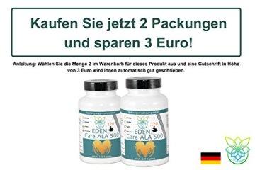 VITARAGNA Eden Care ALA Alpha-Liponsäure Plus 120 Kapseln Plus, hochdosiert mit 500 mg pro Kapsel, Antioxidantien, Anti-Aging & Fatburner für Mann und Frau - 5