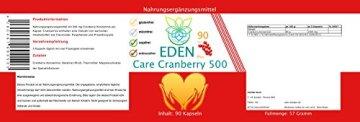 VITARAGNA Eden Care Cranberry 500 90 Kapseln, 500 mg Cranberry Konzentrat hochdosiert, Blase & Nieren stärken, Immunsystem stärken - 2