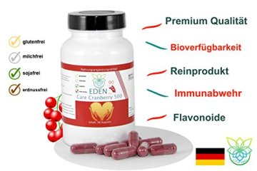 VITARAGNA Eden Care Cranberry 500 90 Kapseln, 500 mg Cranberry Konzentrat hochdosiert, Blase & Nieren stärken, Immunsystem stärken - 3