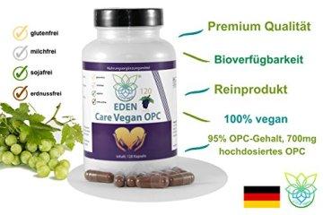 VITARAGNA Eden Care Vegan OPC Traubenkernextrakt Kapseln Forte mit 95% OPC-Gehalt und 700mg hochdosiertes OPC pro Portion, 120 vegane OPC-Kapseln OHNE Magnesiumstearat, 2 Monatsvorrat - 3
