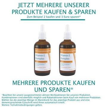 VITARAGNA Vitamin-E Komplex flüssig, natürliches Tocopherol, Vitamin-E Öl in bioaktiver Form in hochwertigem Sonnenblumenöl gelöst als hochdosiertes Liquid mit 100 IE in 1g - 95ml - 5