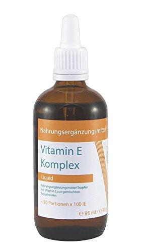 VITARAGNA Vitamin-E Komplex flüssig, natürliches Tocopherol, Vitamin-E Öl in bioaktiver Form in hochwertigem Sonnenblumenöl gelöst als hochdosiertes Liquid mit 100 IE in 1g - 95ml - 1