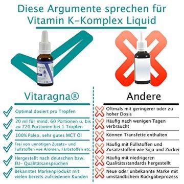 VITARAGNA Vitamin K2 Forte Tropfen flüssig, K1 und K2 - Menaquinon MK7, hochdosiertes Liquid in MCT-Öl gelöst und bioaktiver MK-7-Form, 20 ml - 3