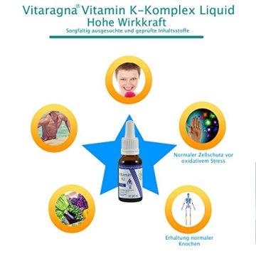 VITARAGNA Vitamin K2 Forte Tropfen flüssig, K1 und K2 - Menaquinon MK7, hochdosiertes Liquid in MCT-Öl gelöst und bioaktiver MK-7-Form, 20 ml - 5