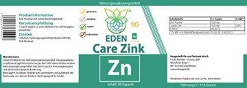 VITARAGNA Zinkpicolinat hochdosiert | Zink-Kapseln | 15 mg Zink (Elementargehalt) pro Kapsel | Laborgeprüft | Reinsubstanz | Frei von Zusatzstoffen wie Magnesiumstearat oder Gelatine | 90 Kapseln - 2