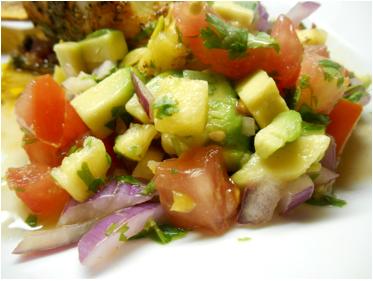 Pineapple and Avocado salsa