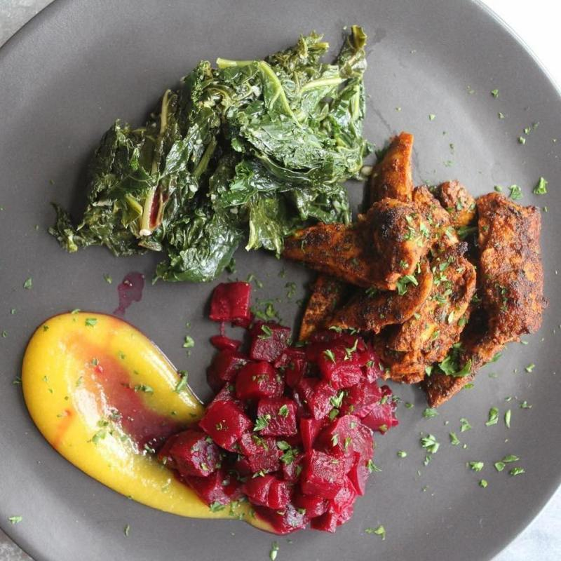 Chipotle Chicken Thighs w. Apricot Glazed Beets and Sautéed Kale - Pete's Paleo - Certified Paleo - Paleo Foundation