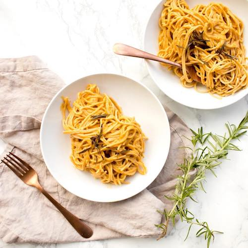Vegan Pumpkin Cheddar Spaghetti with Crispy Rosemary - The Honest Stand - Certified Paleo, Paleo Vegan - Paleo Foundation