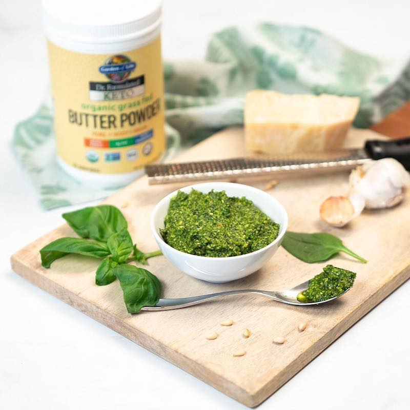 Spinach Basil Pesto & Dr. Formulated Keto Organic Grass Fed Butter Powder - Garden of Life - Paleo Friendly, KETO Certified - Paleo Foundation