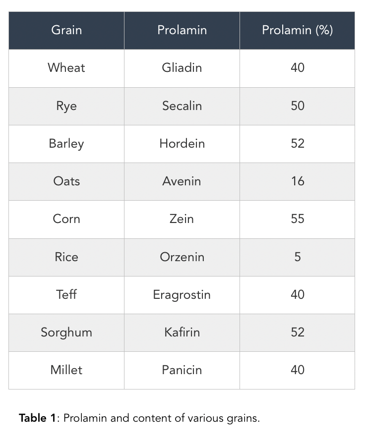 Prolamin and content of various grains.