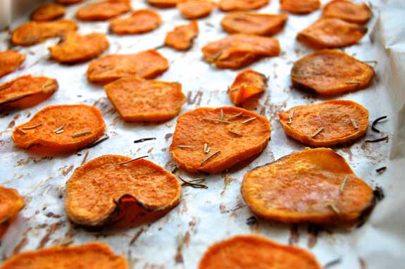 sweet potato chips in the oven