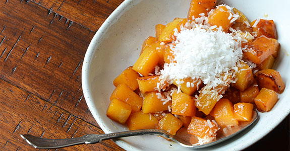 Caramelized Butternut Squash With Cacao Butter and Coconut