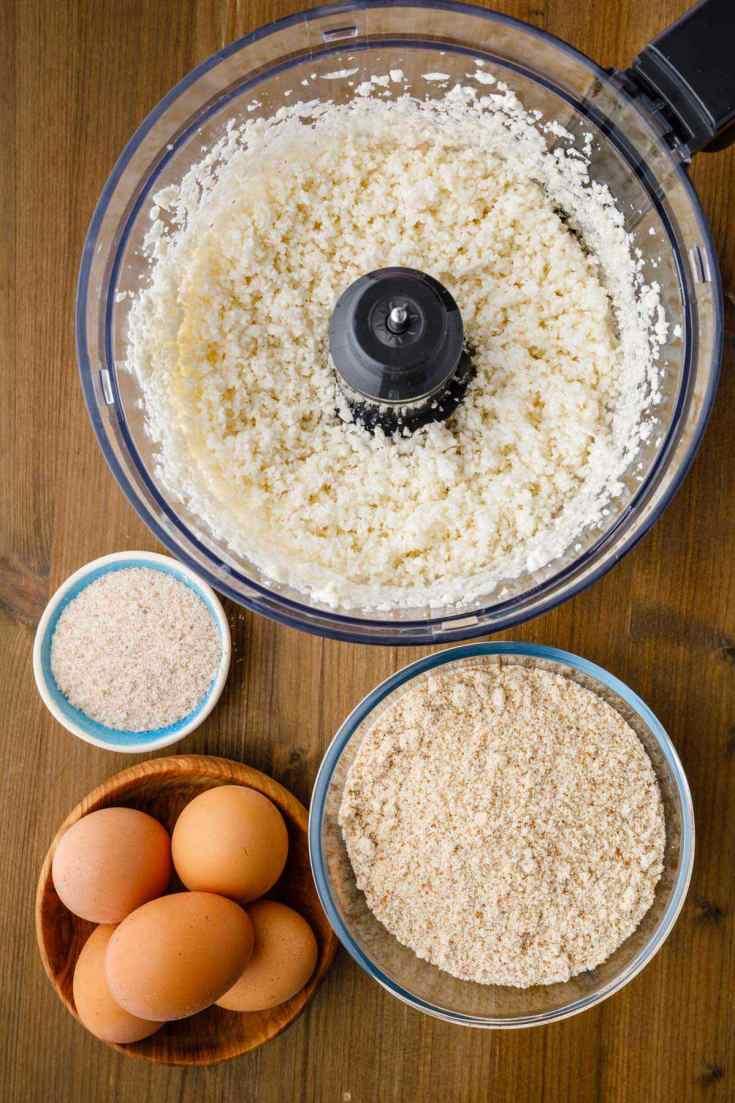 prepping cauliflower bread ingredients