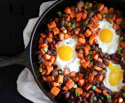 Roasted Carrot Hash with Ground Beef and Bacon