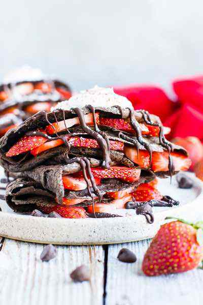 Paleo Chocolate Crepes with Strawberries