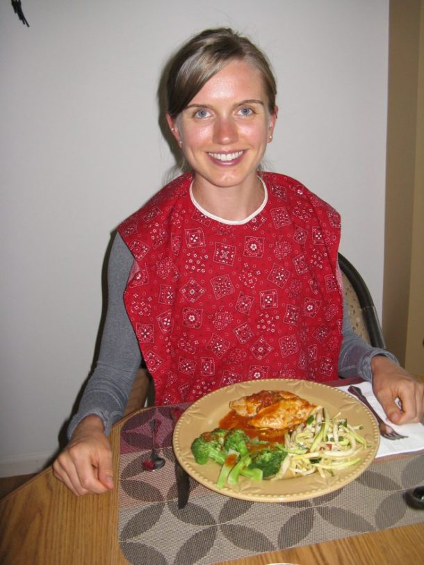 Me with my bib and dinner