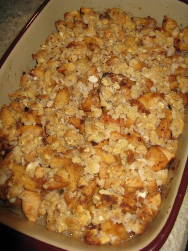 Apple crumble, fresh out of the oven.