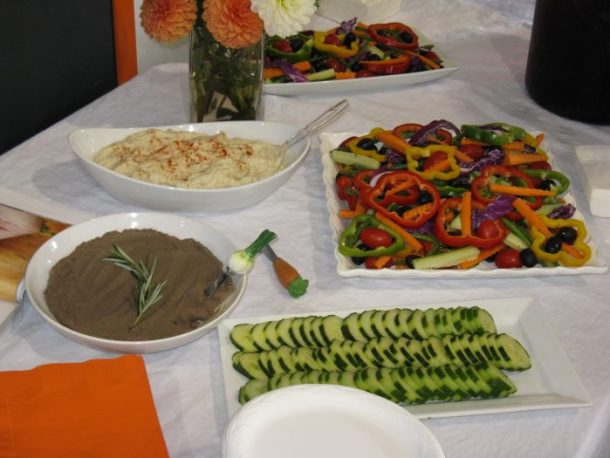 Snack spread at CrossFit Oregon City for Diane's book signing: fresh veggies with cauliflower hummus and chicken liver pate, both recipes from her book, Practical Paleo. There was also some lovely fruit and herb-infused water.