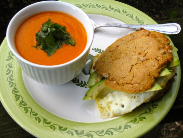 Cream of tomato soup with a homemade breakfast sandwich.