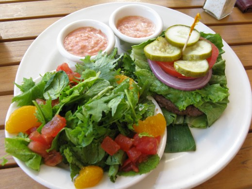 Mmm ... lunch at Tiki's one day: grass-fed Hawaiian beef burger with no bun and extra greens.