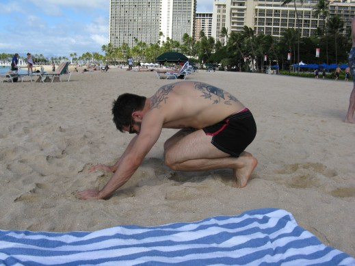 Jesse doing some mobility on the beach one day.