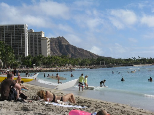 Diamond Head, as seen from Waikiki Beach. We hiked it on our first Honolulu trip in April 2011.