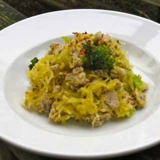 """Garlic Butter """"Noodles"""" with Turkey and Broccoli"""