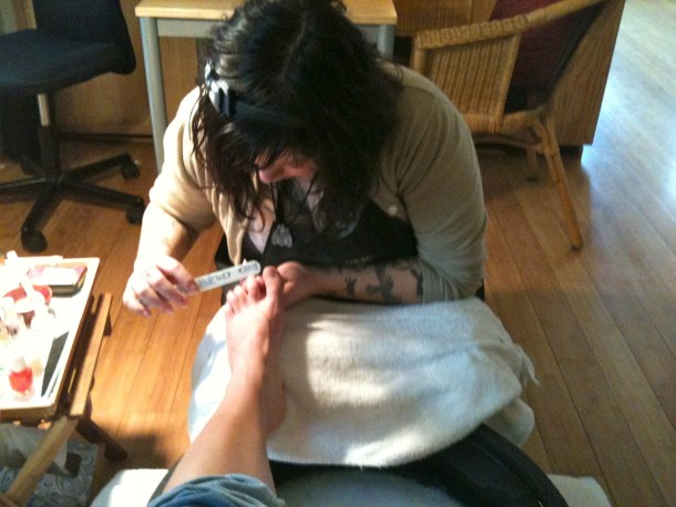 A sneaky picture, in the midst of my pedicure.
