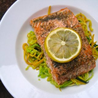 """Lemon Dill Salmon with Buttered """"Zoodles"""""""