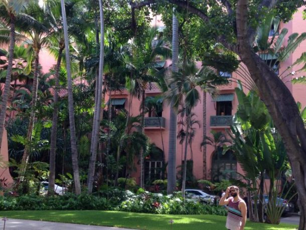 Walking around on the grounds of the Royal Hawaiian.