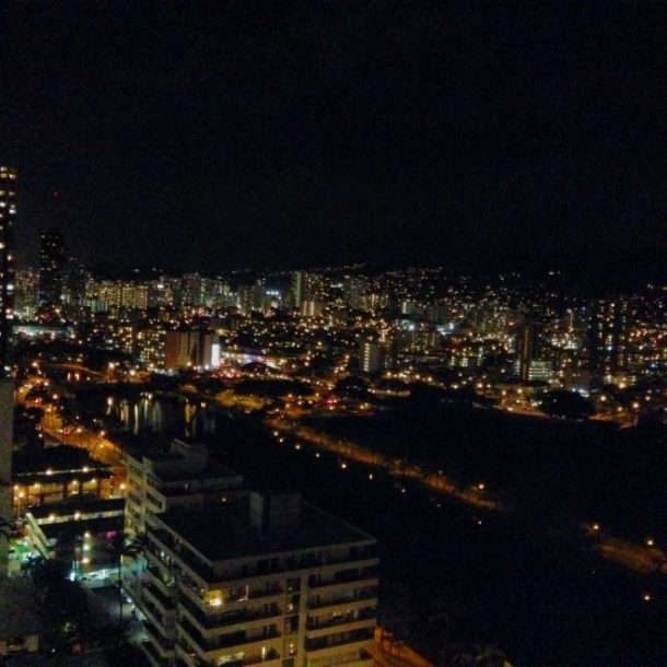 Honolulu at night -- view from our room on the 24th floor.