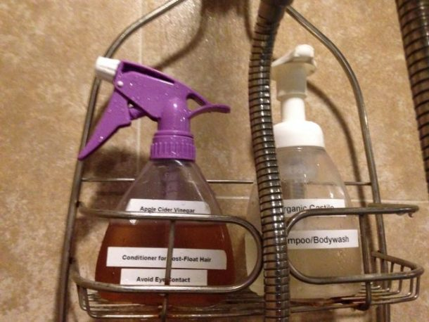 Castile soap for hair/body and ACV for conditioner.