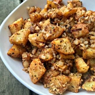 "Zesty Roasted Sweet Potatoes & Cauliflower ""Rice"""