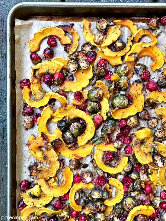roasted squash, Brussels and cranberries