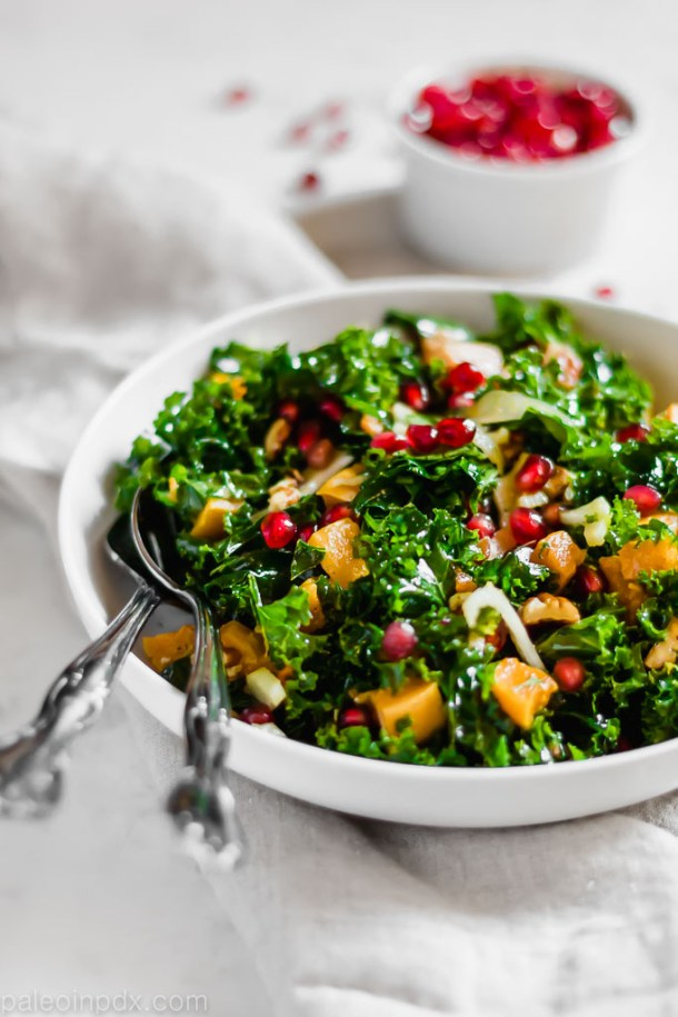 Butternut squash, kale and fennel salad with orange vinaigrette