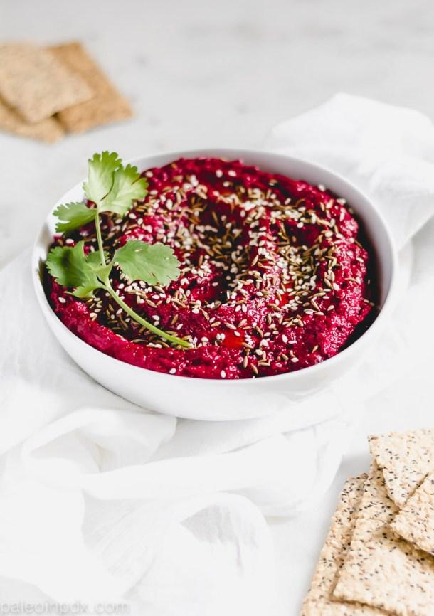 Bean-free za'atar beet hummus