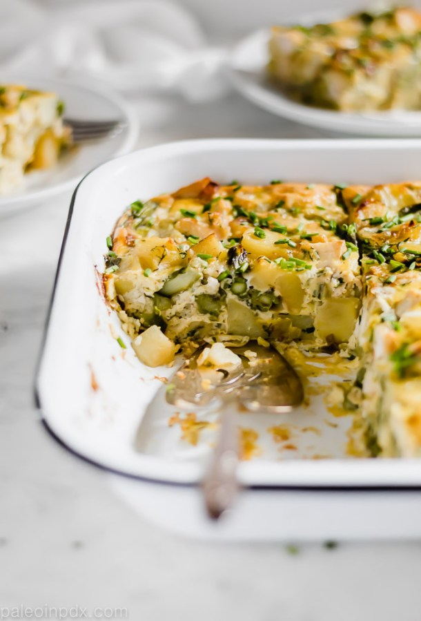 Chicken, asparagus and potato egg bake