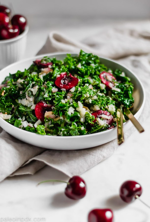 Summer kale salad with herbs cherries and cauliflower rice