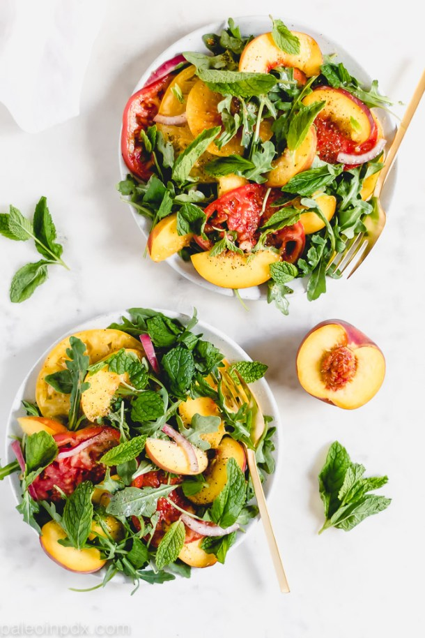 Heirloom tomato salad with peach, mint and arugula